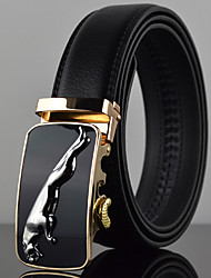Men's Simple Jaguar Icon Automatic Buckle Waist Belt Work / Casual Alloy / Leather Black All Seasons