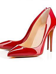 Damen-High Heels-Lässig Party & Festivität-Lackleder-StöckelabsatzSchwarz Rot Mandelfarben