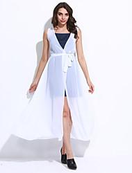 Женский Секси Шифон Однотонный Платье,Макси V-образный вырез Полиэстер