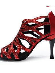 Customizable Women's Ballroom Dance Shoes Paillette Latin Jazz Swing Shoes Salsa Sandals Heels Practice Beginner
