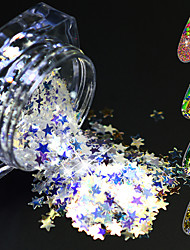1 Bottle 3g New Arrival Rainbow Holographic Nail Art Glitter Powder Shapes Star/Flowers Design Laser Nail Decoration Tip