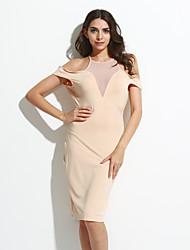 Moulante Robe Femme Soirée Sexy,Couleur Pleine Col Ras du Cou Midi Manches Courtes Beige / Noir Polyester / Spandex Eté Taille Haute