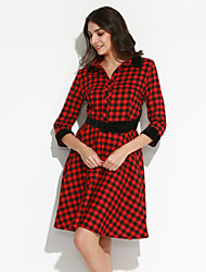 Trapèze Robe Femme Sortie Grandes Tailles Chic de Rue,Tartan Col de Chemise Mi-long Manches ¾ Rouge Gris Polyester Automne Taille Normale