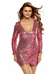 Women's Silver Ruched Sequin Long Sleeve Nightclub Dress