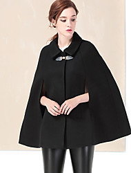 YZXH Women's Casual/Daily Simple CoatSolid Shirt Collar Long Sleeve Winter Black Wool / Acrylic Thick