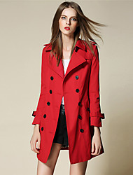 BURDULLY Women's Shirt Collar Long Sleeve Trench Coat Pink / Red / Khaki / Dark Blue-5119