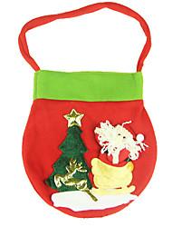 Decoraciones Navideñas Bolsas de regalo Decoración para Celebraciones 2Pcs Navidad Tejido Rojo