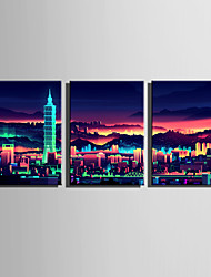 E-HOME Stretched Canvas Art Charm City Night Scene Decoration Painting Set Of 3