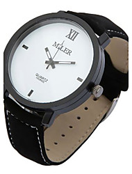 Men's Women's Wrist watch Quartz Leather Band Black Brand