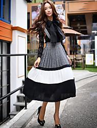 dabuwawa mulheres que saem vestido balanço vintage, cinta sólida midi mangas de poliéster cinza / spandex queda-d16crs036