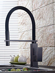 Traditional Pull-out/Pull-down Deck Mounted Pullout Spray with Ceramic Valve Single Handle One Hole for Oil-rubbed Bronze  Kitchen