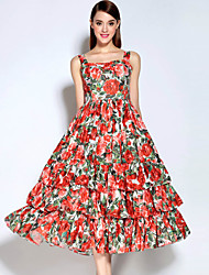 Mary Yan&Yu Women's Ruffle  Casual/Daily Vintage Swing DressFloral Round Neck Midi Sleeveless Red Cotton / Polyester Fall Mid Rise Inelastic Medium
