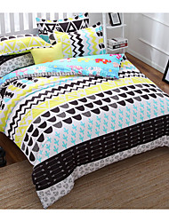 Novelty Duvet Cover Sets 4 Piece Cotton Contemporary Reactive Print Cotton Full 1pc Duvet Cover 2pcs Shams 1pc Flat Sheet