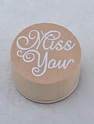 Vintage Floral Pattern Word Round Wooden Rubber Stamp(Miss you)