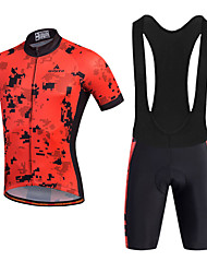 Miloto Cycling Jersey with Bib Shorts Men's Short Sleeves Bike Bib Shorts Shorts Shirt Sweatshirt Jersey Bib Tights Tops Quick Dry