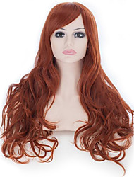 25 Inches Cosplay Wigs Women's Natural Big Wavy Long Curly Honey Brown Hair Wig Oblique Bangs Style
