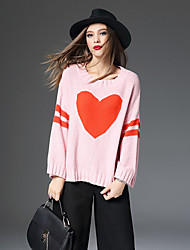 Women's Casual/Daily Simple Regular Pullover,Print Pink White Round Neck Long Sleeve Rabbit Fur Cotton Winter Thick Micro-elastic