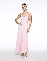 Mulheres Vestido Bainha Sexy Sólido Maxi Decote V Poliéster
