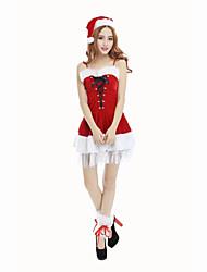 Costume de Soirée Bal Masqué Costumes de père noël Fête / Célébration Déguisement Halloween Rouge Couleur PleineRobe Chapeau Plus
