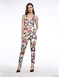 Women's Floral Club Breathe Freely Slim Jumpsuits,Boho Deep V Sleeveless