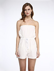 Women's Solid White Jumpsuits,Sexy Strapless Sleeveless