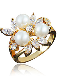 Women's Ring Imitation Pearl Costume Jewelry Gold Plated 18K gold Jewelry For Wedding Party Daily Casual