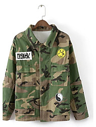 Women's Going out / Casual/Daily Simple / Street chic Jackets,Camouflage Shirt Collar Long Sleeve Fall / Winter Green Polyester Medium