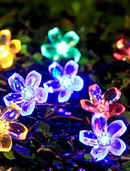 6.5m 50 flor de pêssego lâmpada de energia solar natal do dia das bruxas luzes decorativas luzes festivas tira