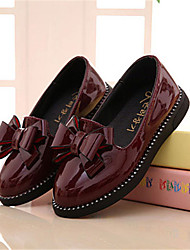 Girl's Flats Fall Comfort Patent Leather Casual Flat Heel Bowknot Black Red Burgundy Others