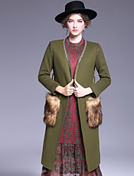 OULIE  Women's Casual/Daily Simple CoatSolid V Neck Long Sleeve Fall / Winter Green Wool / Polyester