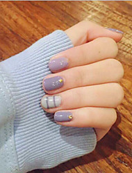 24 Pcs Rivets Lavender Stripe Paragraphs Short Nail Glue Nails Nail Plate