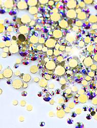 New Arrival GOLD AB Color Shiny 3D Nail Art Decoration Flat Back Rhinestone Mini Shape Glitter Gem Different Size NJ245