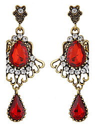 Drop Earrings Gemstone Acrylic Rhinestone Alloy Fashion Drop Red Jewelry Party Daily 1 pair