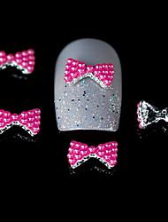 10шт выросли красные бусы галстук-бабочка 3d дизайн сплав ногтей DIY Nail Art Decoration