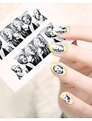 1pcs  Water Transfer Nail Art Stickers Beautiful Girl and Lady Image Iron Tower Nail Art Design STZ190-195