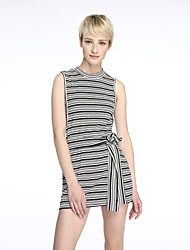 Women's Casual/Daily Sexy Bodycon Dress,Striped Round Neck Above Knee Sleeveless Black Cotton Summer