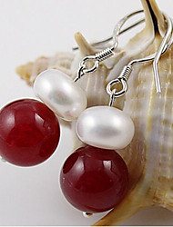 Freshwater pearl red agate 0.9-1.0cm Earrings