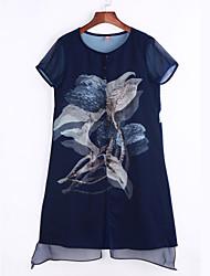 Women's Street chic Print Plus Size / Loose Dress,Round Neck Knee-length Silk / Polyester