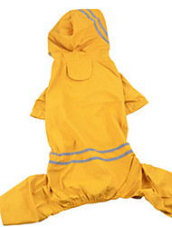 Dog Rain Coat Yellow Dog Clothes Summer / Spring/Fall Solid Waterproof