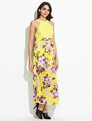 Women's Sexy / Boho Floral Sheath / Swing Dress , Crew Neck Maxi Polyester