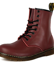 Men's Boots Fall Winter Comfort PU Casual Flat Heel Lace-up Black Brown Red
