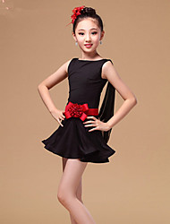 Latin Dance Dresses Children's Performance Tulle Milk Fiber Ruffles Sash/Ribbon 2 Pieces Sleeveless High Dress Waist Belt