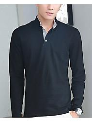 Tee-shirt Hommes,Couleur Pleine Décontracté / Quotidien Chinoiserie Automne / Hiver Manches Longues Mao Bleu / Blanc / Noir / Gris Coton