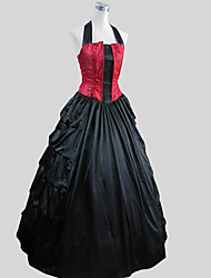 One-Piece/Dress Gothic Lolita Victorian Cosplay Lolita Dress Solid Sleeveless Ankle-length Tuxedo For Charmeuse