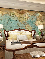 JAMMORY Art Deco Wallpaper Retro Wall CoveringCanvas Large Mural  World MapXL XXL XXXL