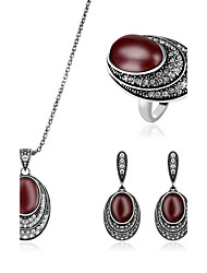 Jewelry 1 Necklace 1 Pair of Earrings Rings Rhinestone Imitation Ruby Wedding Party Daily Gemstone & Crystal Alloy 1set Women RedWedding