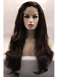 Best Selling Natural Long Wavy Fashion Realistic Wig Dark Chocolate Brown Color Glueless Synthetic Lace Front Wigs Half Hand Tied Hair for Women