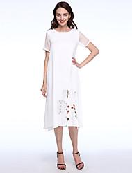 Women's Casual/Chinoiserie Loose Dress,Print Midi False Two Short Sleeve Blue /Pink /White Silk / Cotton /Linen Summer