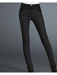 Damen Übergrössen Skinny Chinos Hose-Lässig/Alltäglich Einfach Punkte Hohe Hüfthöhe Kordelzug / Elastizität Nylon Micro-elastisch Winter