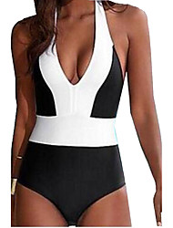 Women's Halter One-piece,Color Block Polyester Black and White